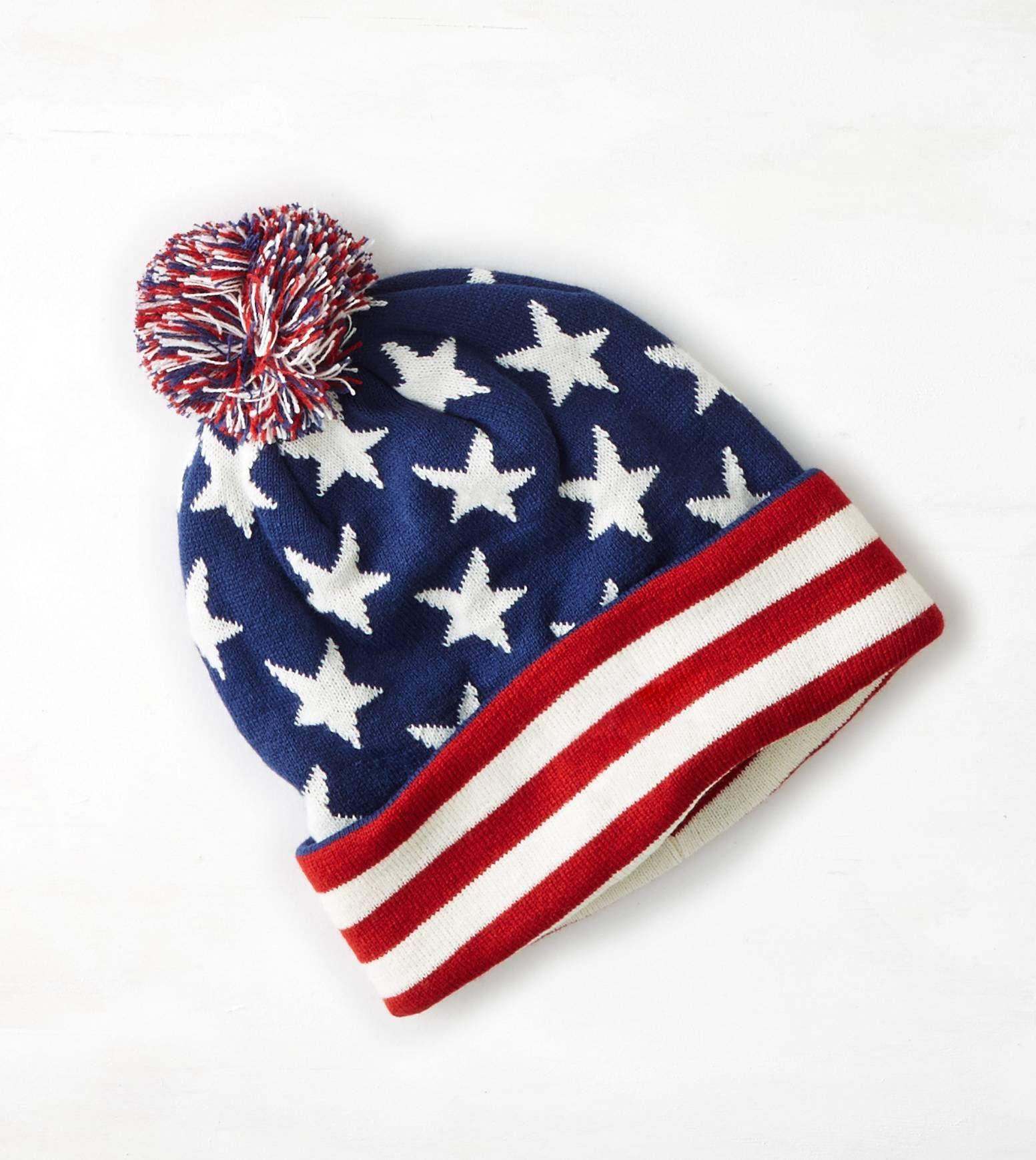 de6720431 Americana AEO Flag Pom Pom Beanie | Crinkets | Fall hats, Beanie, Hats