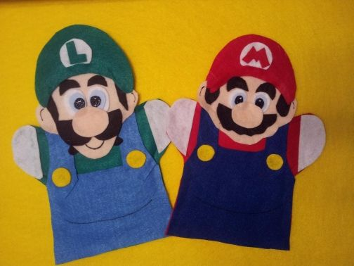Super Mario and Luigi felt hand Puppets by puppetmaker, Puppets
