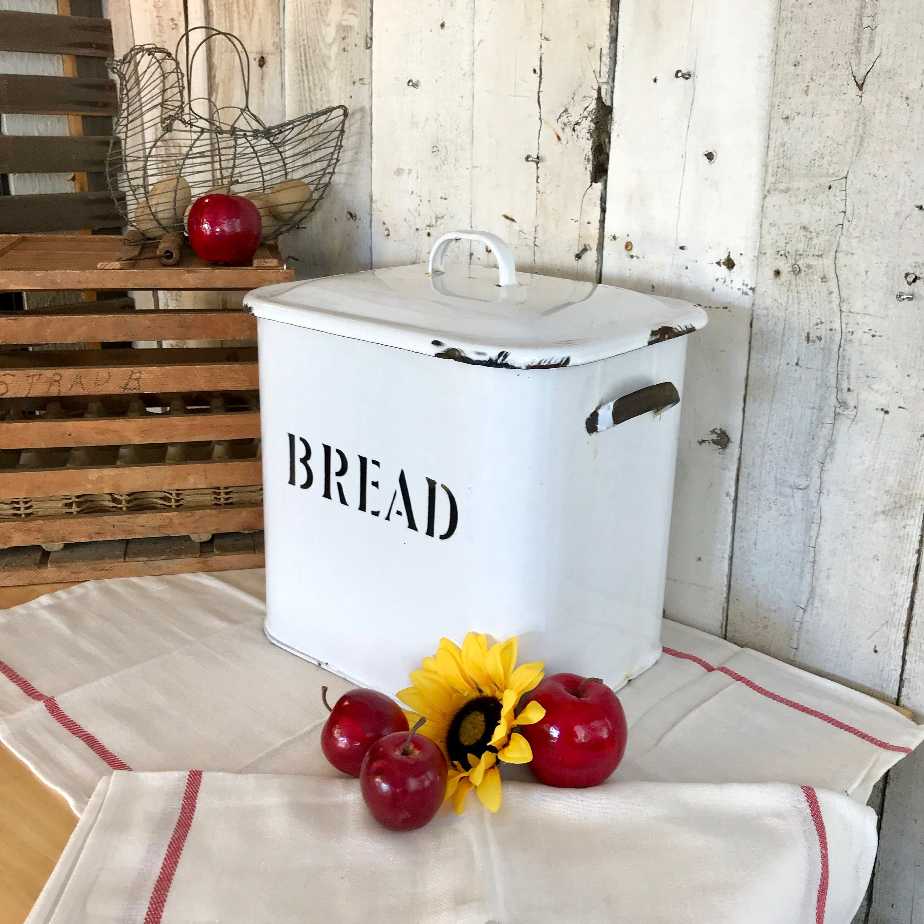 Large Vintage Enamelware Bread Box with Lid and Handles