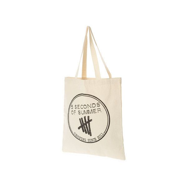 5 Seconds of Summer Canvas Tote Bag ($23) ❤ liked on Polyvore featuring bags, handbags, tote bags, white purse, canvas handbags, summer handbags, summer purses e handbags totes