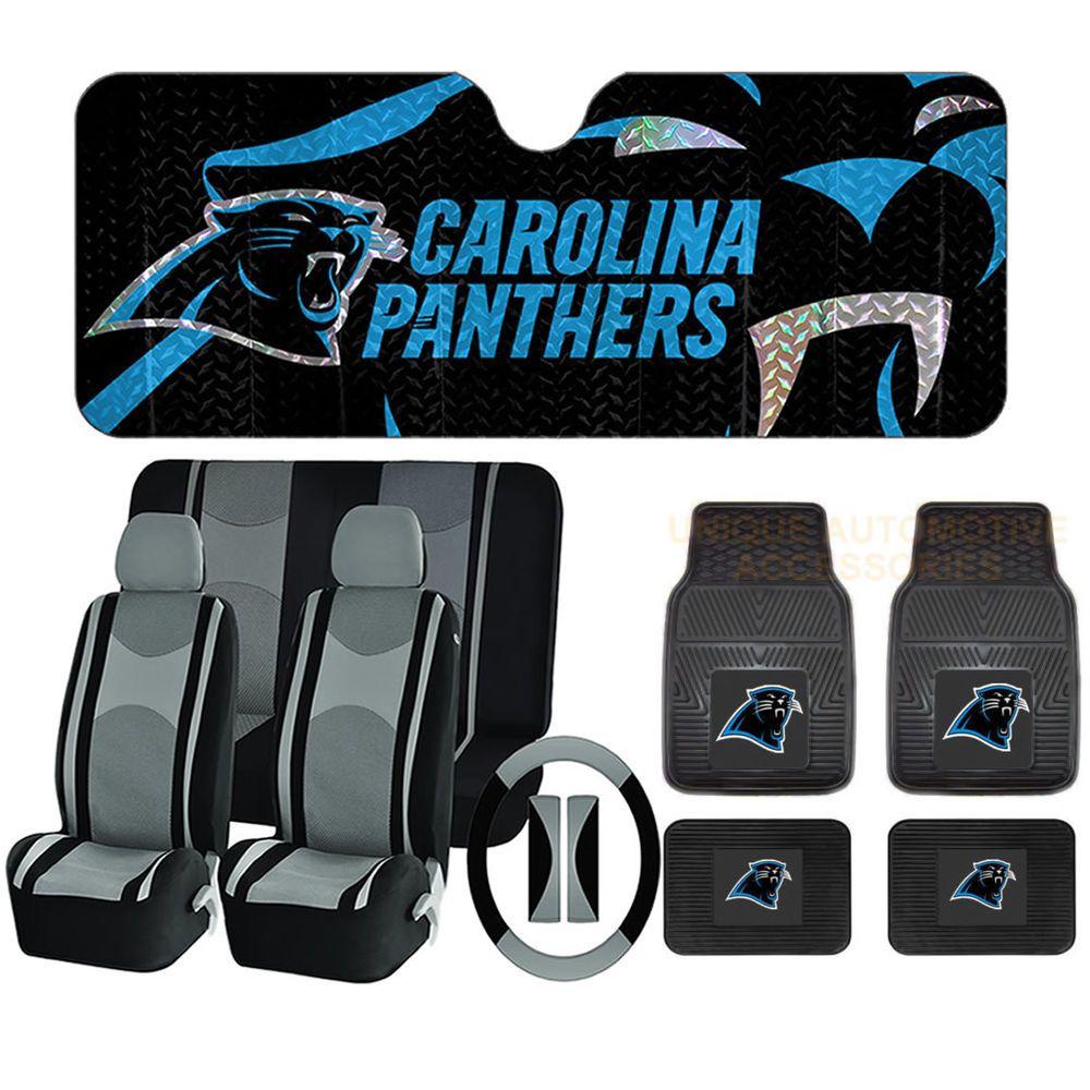 cf74f3a7 14 pc NFL Carolina Panthers Mats Sun Shade Gray Black Seat Covers ...