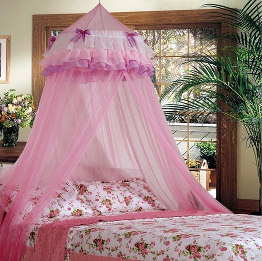 14.59 Elegant Lace Bed Mosquito Netting Mesh Canopy Princess Round Dome Bedding Net in Home u0026 & Elegant Lace Bed Mosquito Netting Mesh Canopy Princess Round Dome ...