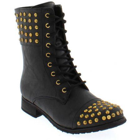 Shoes of Soul Women's Laces Studded Boots, Size: 7.50, Gold