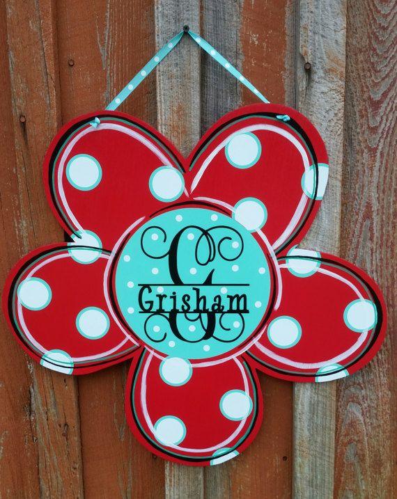 Spring Door Hanger Personalized Door Hanger Flower Spring Decor Wood Door  Hanger Front Door Decor