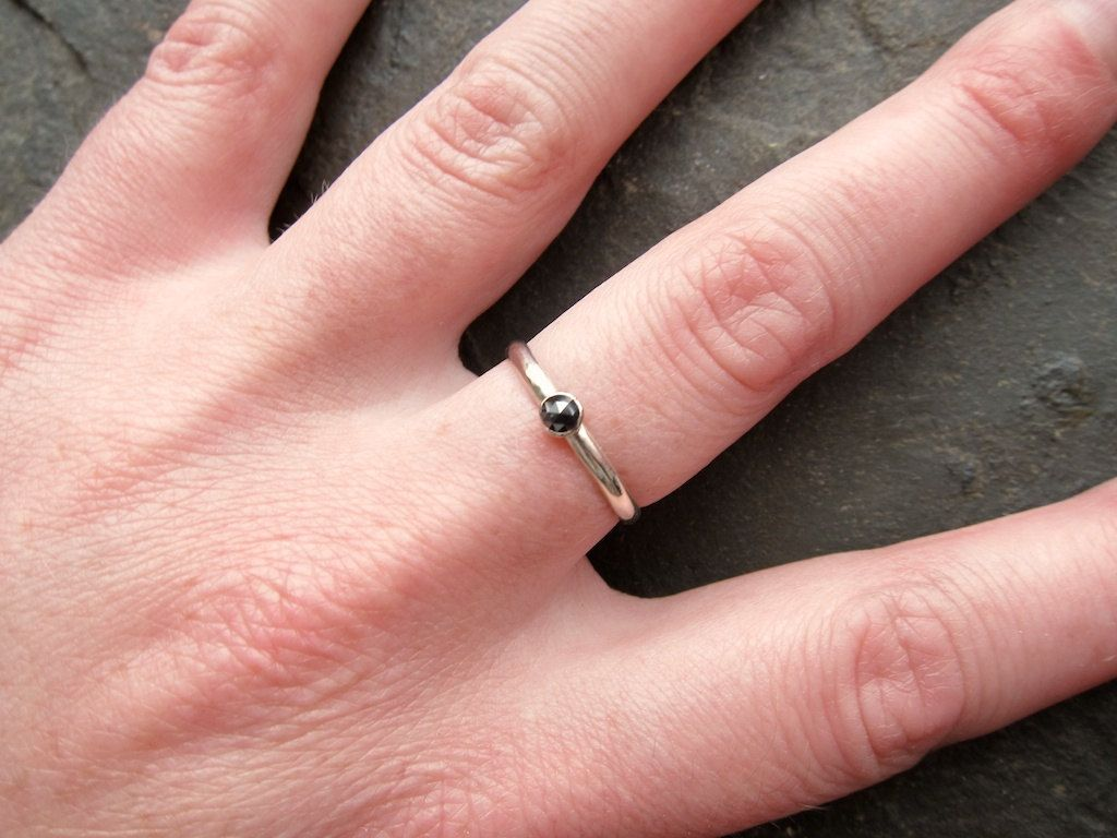 Black Rose Cut Diamond Stackable Ring. $160.00, via Etsy. | Rings ...