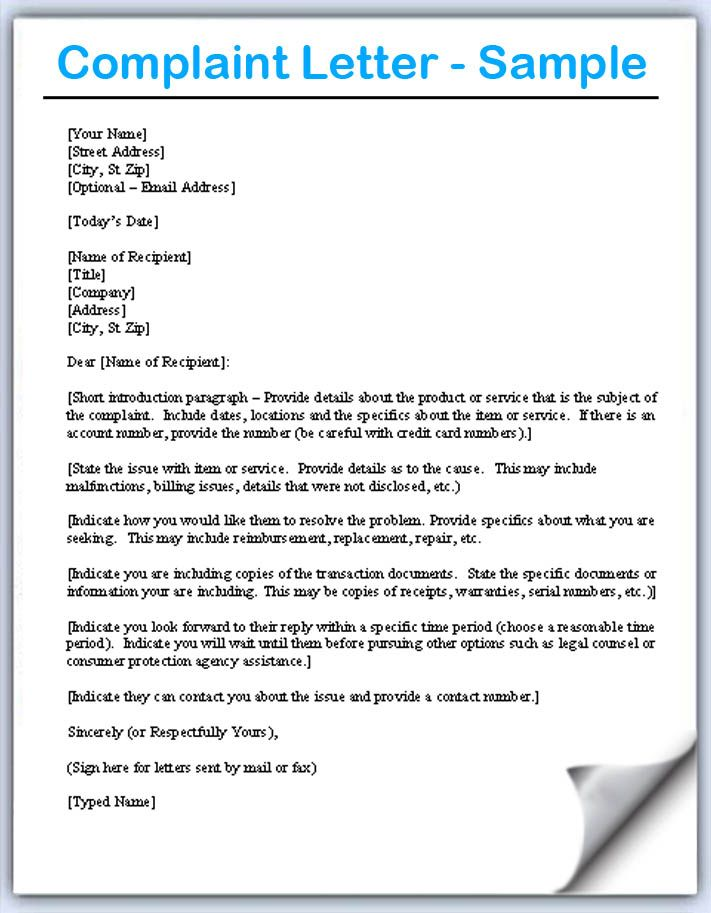 Complaint Letter Samples Writing Professional Letters Download