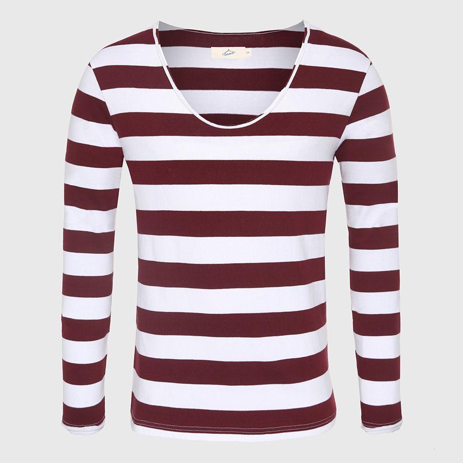 8b04424fe222 men fashion summer Long Sleeve Men T-Shirt Striped T Shirt Male V Neck T