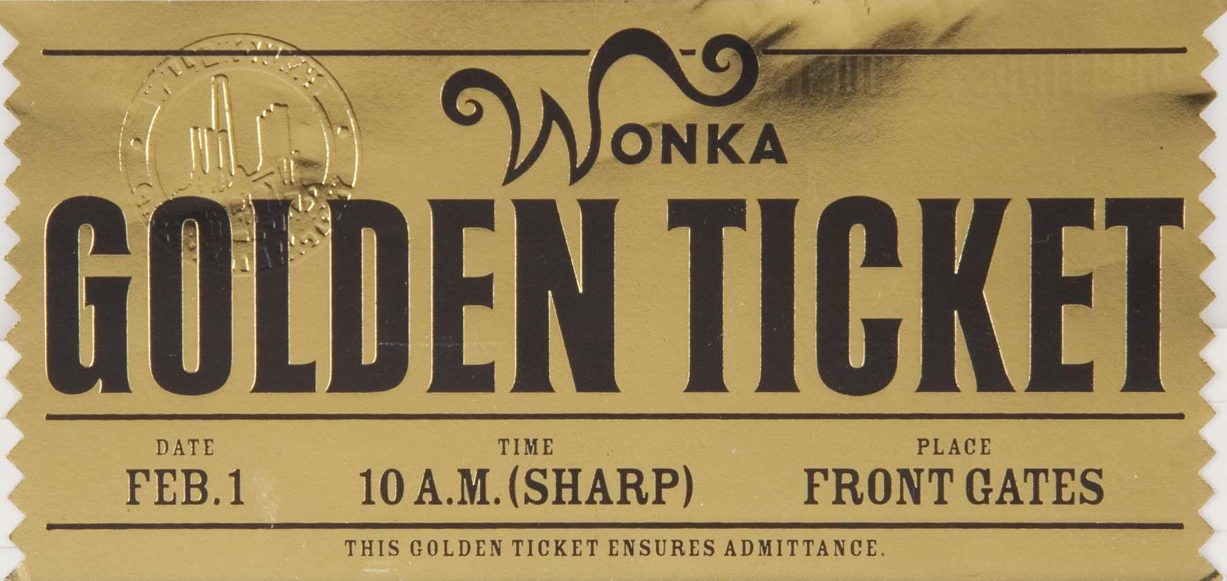 Golden Ticket front | Fabrica de chocolate, Chocolate, Bilhete