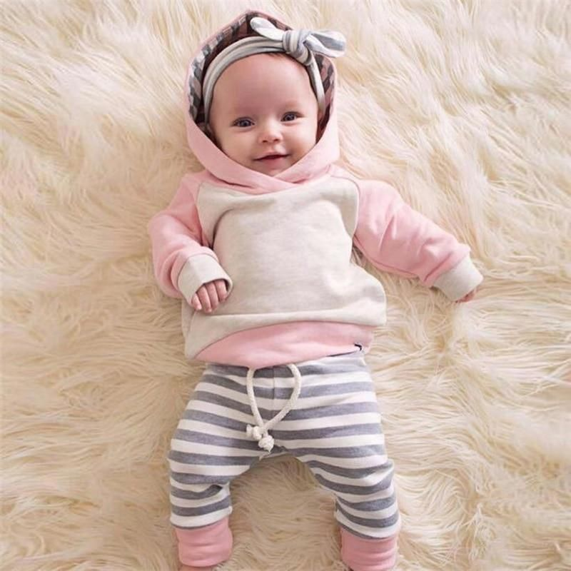 Our striped pink hoodie outfit with a matching bow. Super ...
