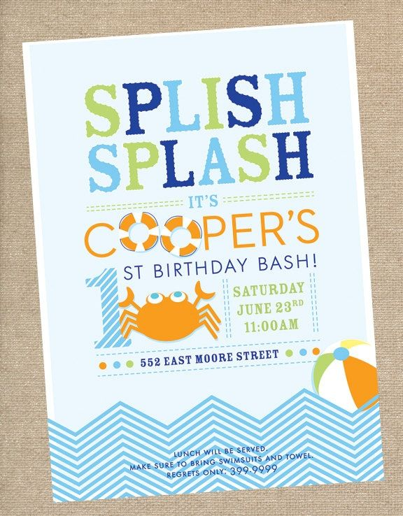First Birthday Pool Party Invitations Kids Birthday Invitation Birthday Invitations Kids Party Invitations Kids Birthday Party Invitations