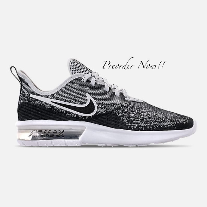 Swarovski Women S Nike Air Max Sequent 4 Black White Etsy Nike Air Max For Women Nike Air Max Bling Nike Shoes