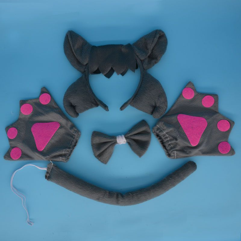 2017 New Wolf Ear Animal Costume Headband Bow Tie Tail Paws 4pcs set - halloween party decorations adults