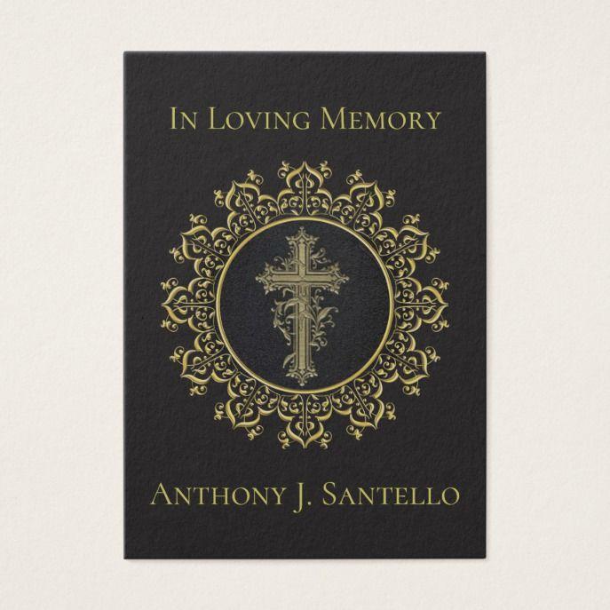 Gold Cross Catholic Funeral Memorial Holy Card Custom Square