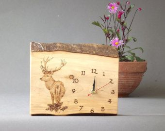 Hand made Clock original drawing of Red deer stag Pyrography
