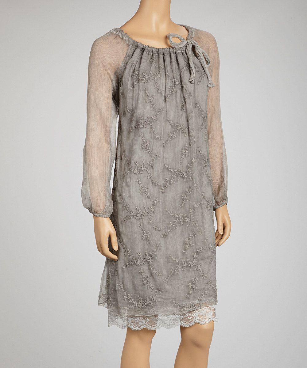 Take A Look At This Saga Gray Embroidered Silk Long-Sleeve