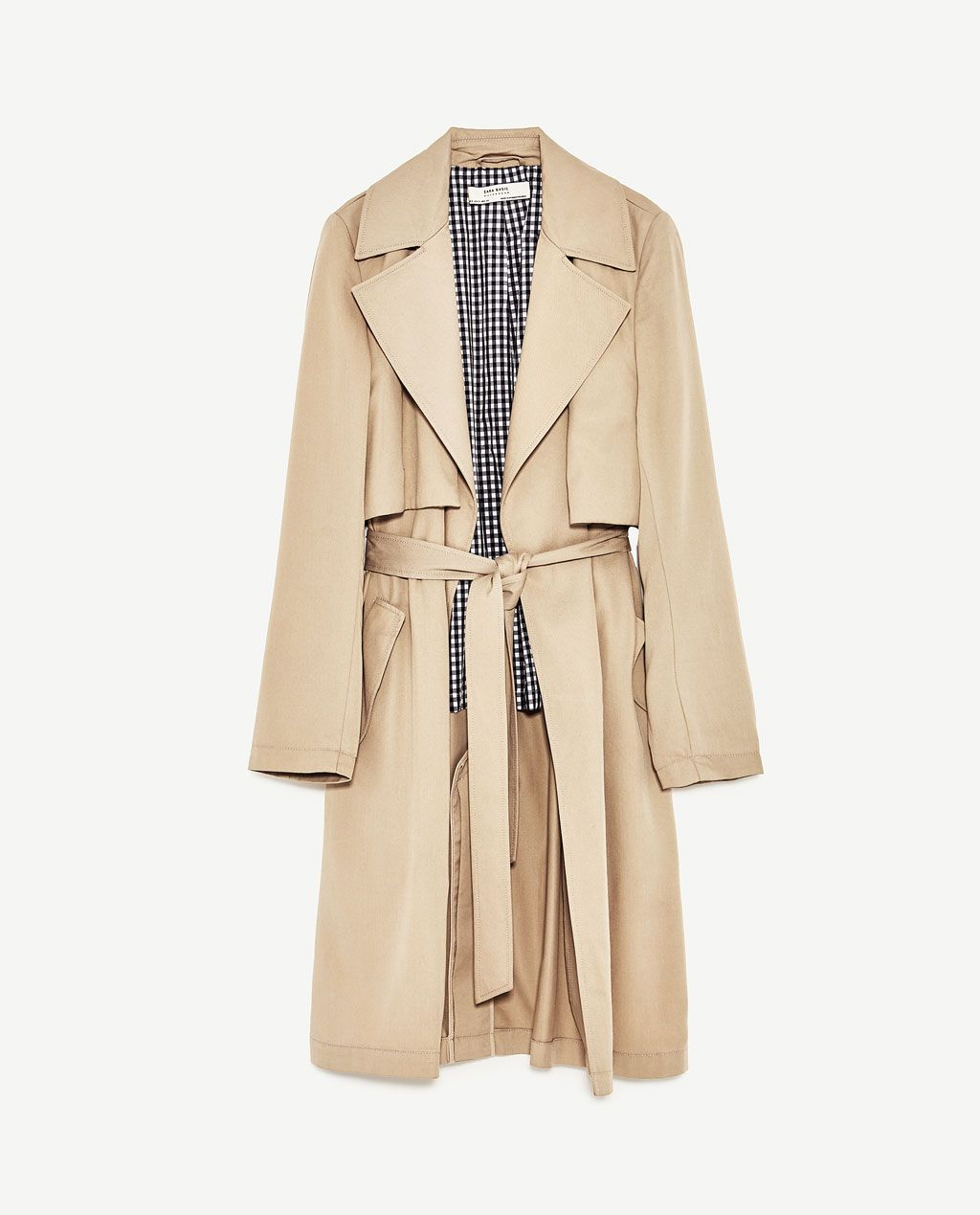b487db54f653 Image 11 of FLOWING TRENCH COAT WITH GINGHAM CHECK LINING from Zara ...
