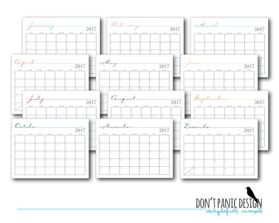 Printable Monthly Wall Calendar  Whimsical Home Office