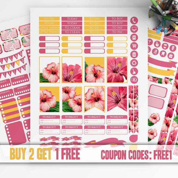 Pink FLORAL Planner Stickers Printable, Erin Condren Sticker, Monthly / Weekly Kit, Printable Sampler, Erin Condren kit, Instant download