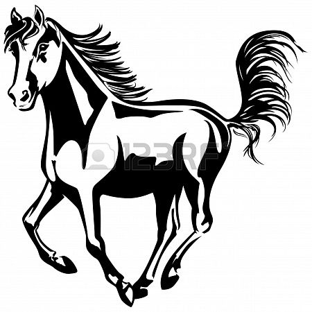 The Horse Is Running Black And White Drawing Silhouette Horse Clip Art Black And White Drawing Horse Illustration