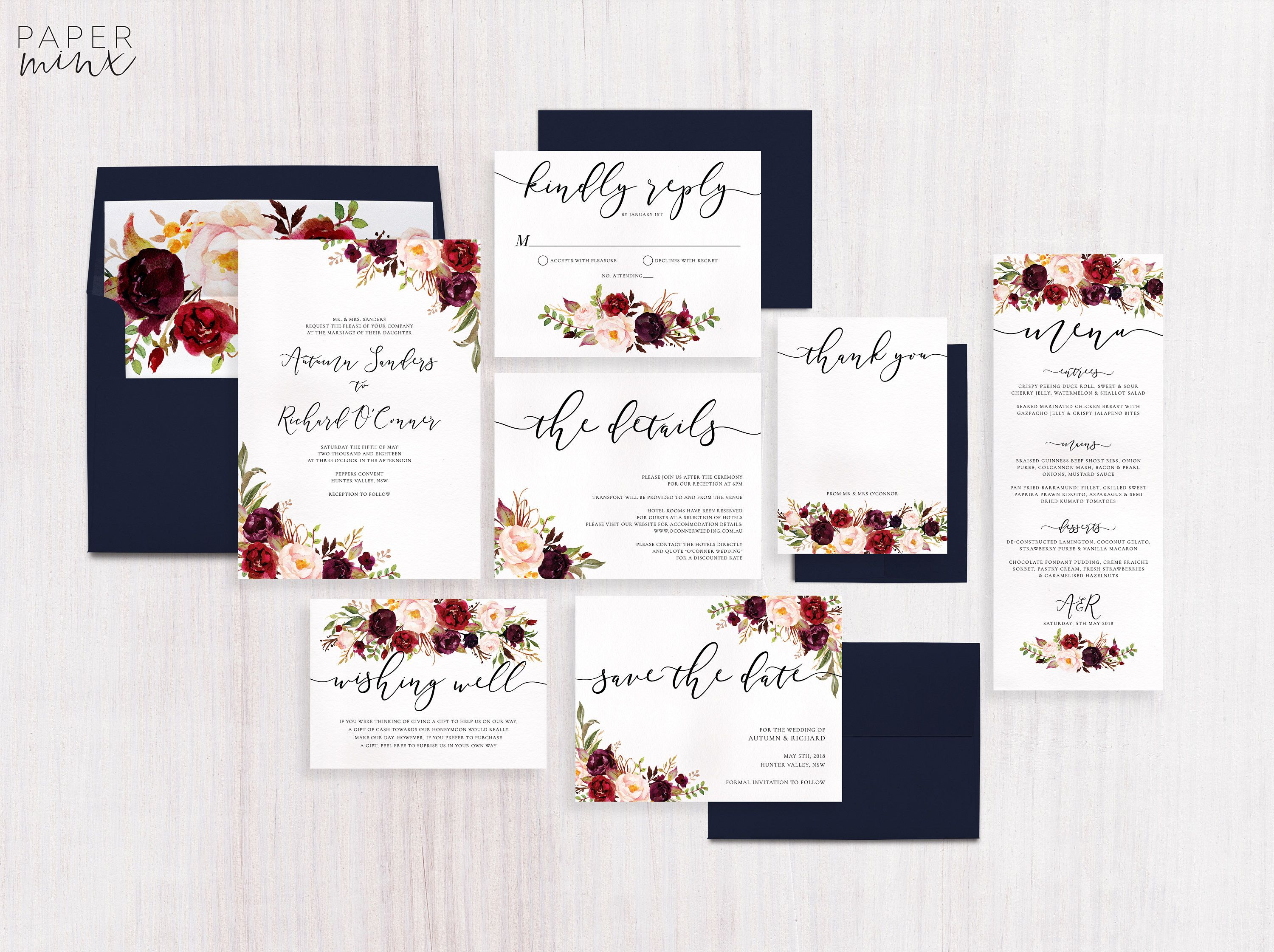 Wedding Invitation Marsala Flowers Wedding Invitation Suite