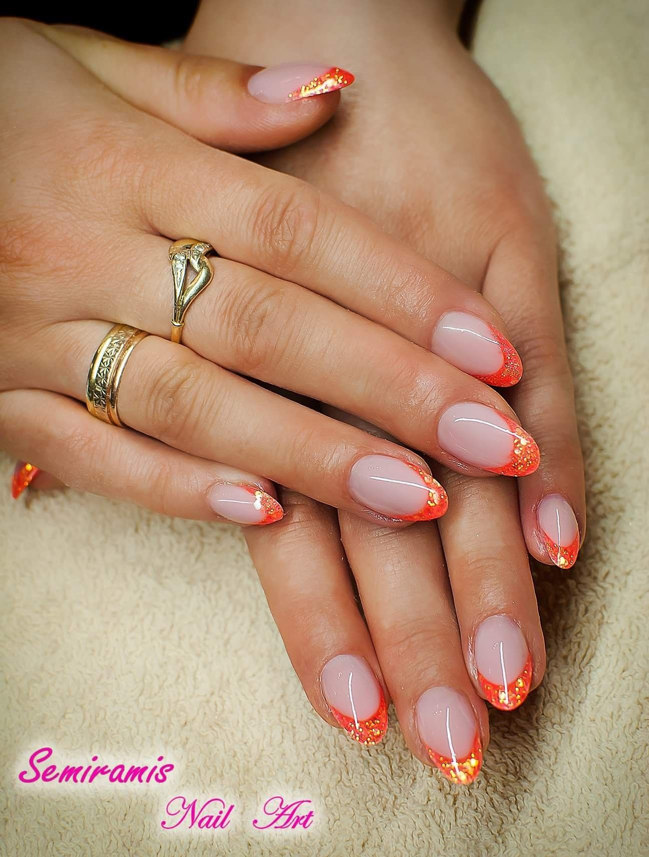French nails, shining orange free edge | köröm minták / Nail Art ...