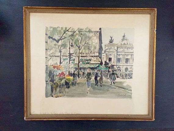 Herbelot Paris Scene Watercolor Print Signed By Speckadoos On Etsy