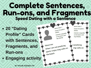 Speed Dating With A Sentence Cards Are Setup Like Dating Profiles Students Will Read The About Me And Identify Wh Complete Sentences Speed Dating Sentences