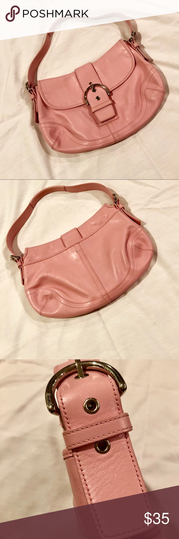 Coach Pink Leather Purse In great preowner Condition