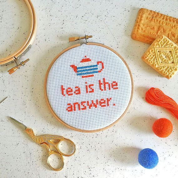 Tea is the answer cross stitch kit gifts for от TheMakeArcade