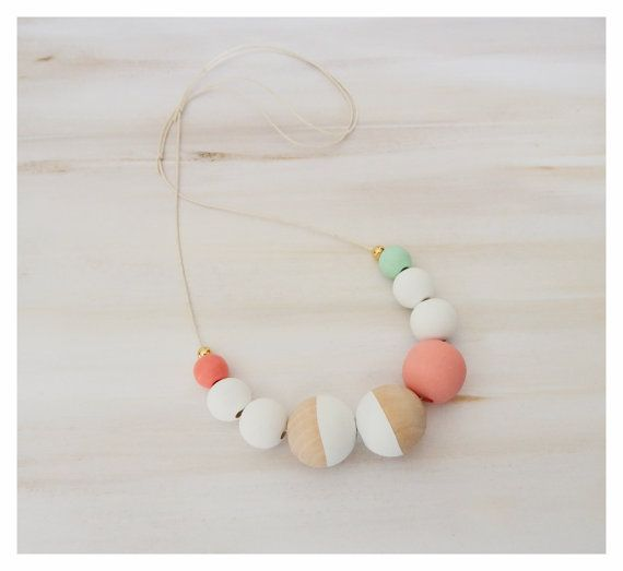 Hand Painted Wooden Necklace/modernnecklace/trendingjewellery/woodenbeads/statementnecklace/goldbeads/giftideas/pastelbeads/bohonecklace