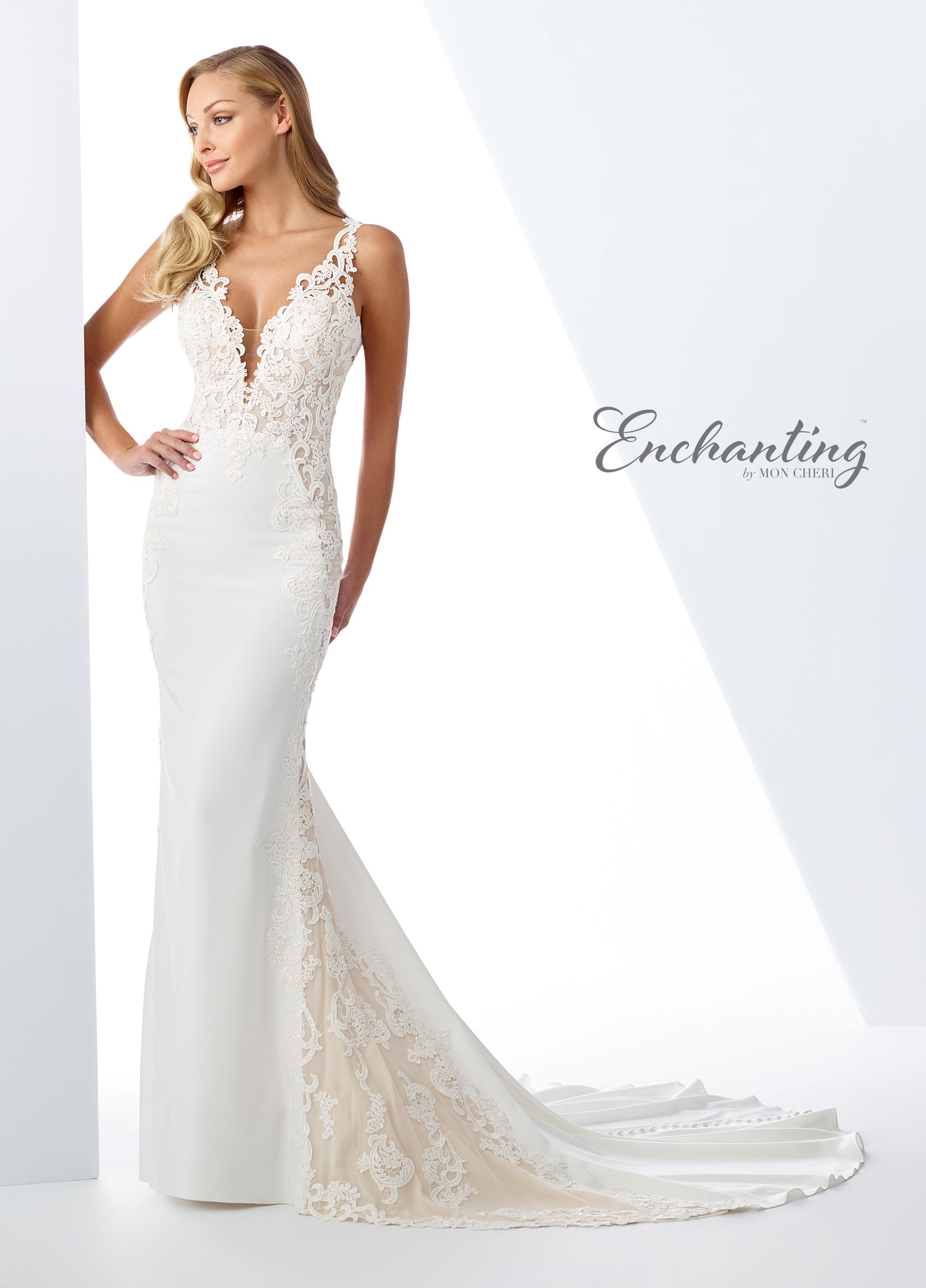 bebd5c9b91e0 Enchanting By Mon Cheri 119125 - Undeniably sexy, this sleeveless stretch  crepe over chiffon fit and flare gown features a deep V-neckline with an  illusion ...