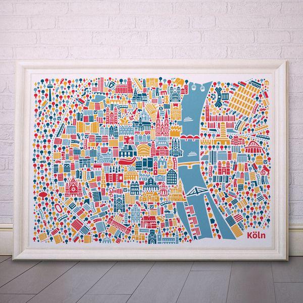 Köln+Poster+100x70+by+Vianina+Poster+von+Vianina+Poster+kaufen+auf+DaWanda.com