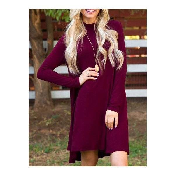 SheIn(sheinside) Burgundy Long Sleeve Shift Dress (€8,80) ❤ liked on Polyvore featuring dresses, long sleeve shift dress, tshirt dress, short purple dresses, short burgundy dress and long sleeve short dress