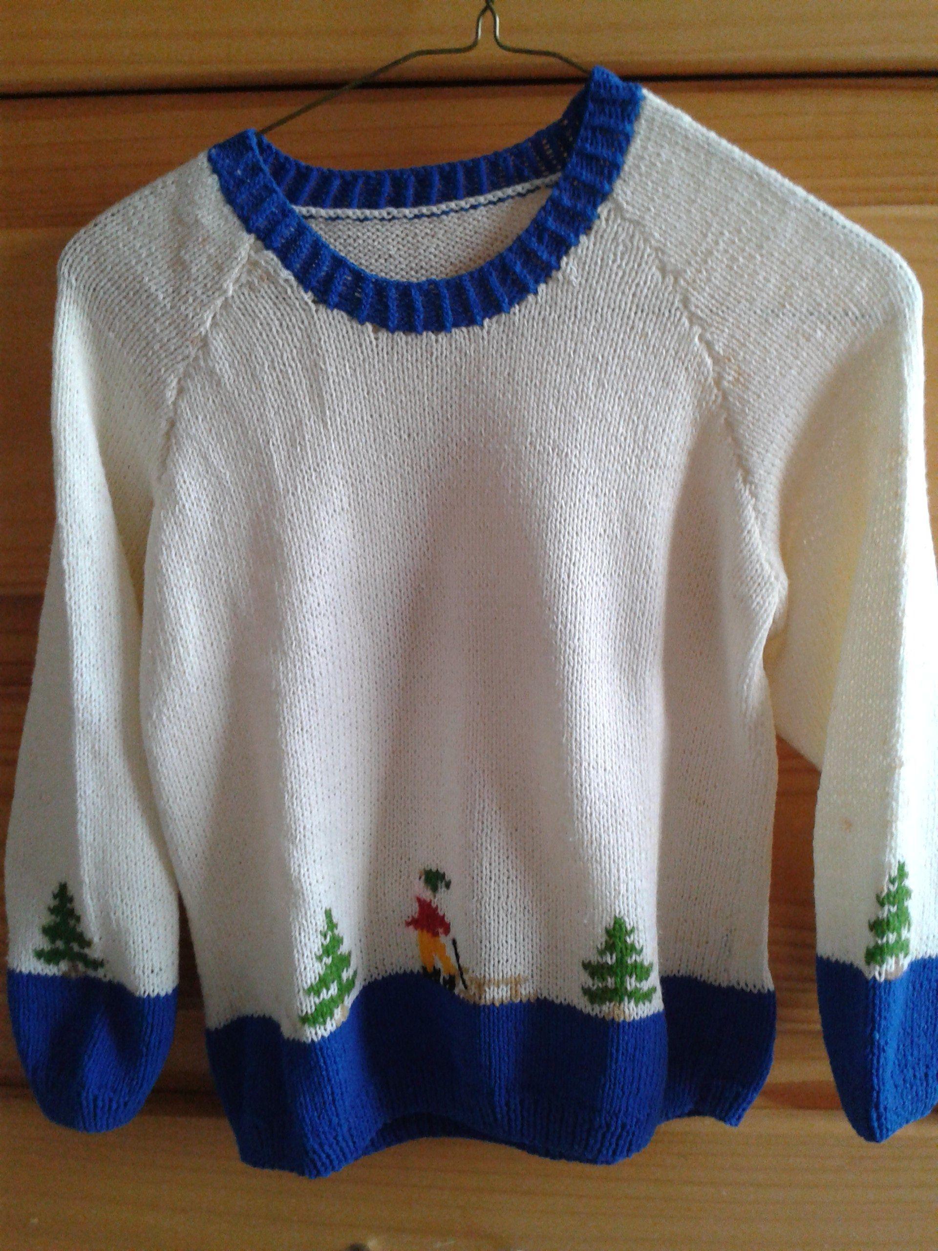 suéter navidad en dos agujas y bordado