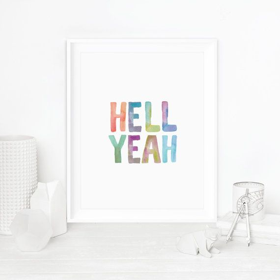 """Motivational Print Wall Decor """"Hell Yeah"""" Inspirational Print Home Decor Wall Art Typography Poster Winter Gift New Year Resolution"""