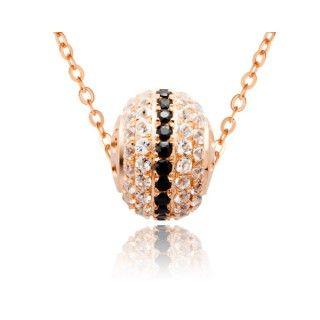 Collier Sphere Argent 925 Plaque Or Rose En Spinelle Noir Description Collier Ravissant En Forme De Sphere Serti De 22 Spi Necklace Pendant Silver Necklace