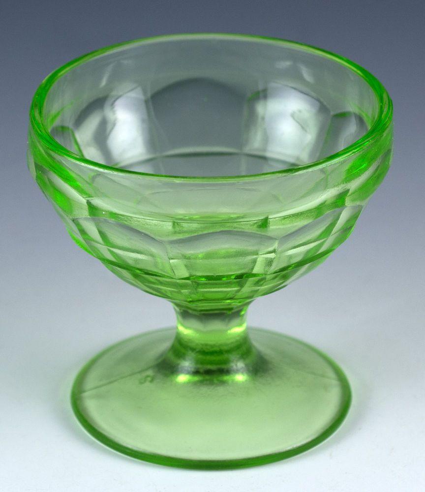 Vintage Green Uranium Hazel Atlas Glass Modernistic ...