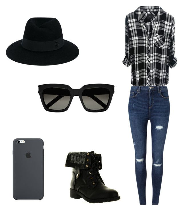 The tomboy/girly girl outfit by katelyn-sours-shrieve on Polyvore featuring polyvore, fashion, style, Miss Selfridge, Refresh, Maison Michel, Yves Saint Laurent and clothing