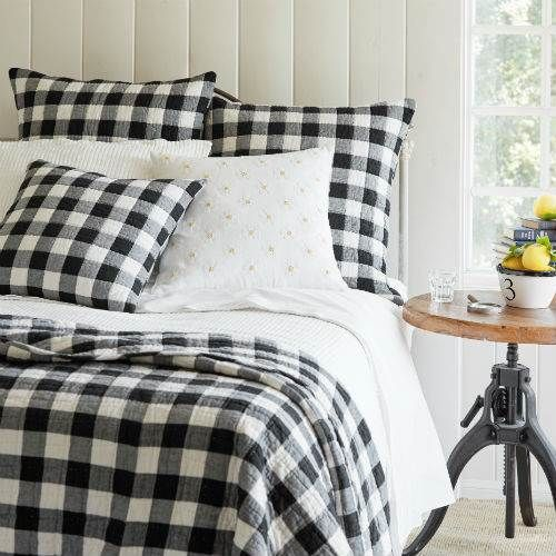 Love This Bedroom Look Black And White Buffalo Plaid Taylor Linens Parker Quilt Buffalo Plaid Bedding Plaid Comforter Plaid Bedding