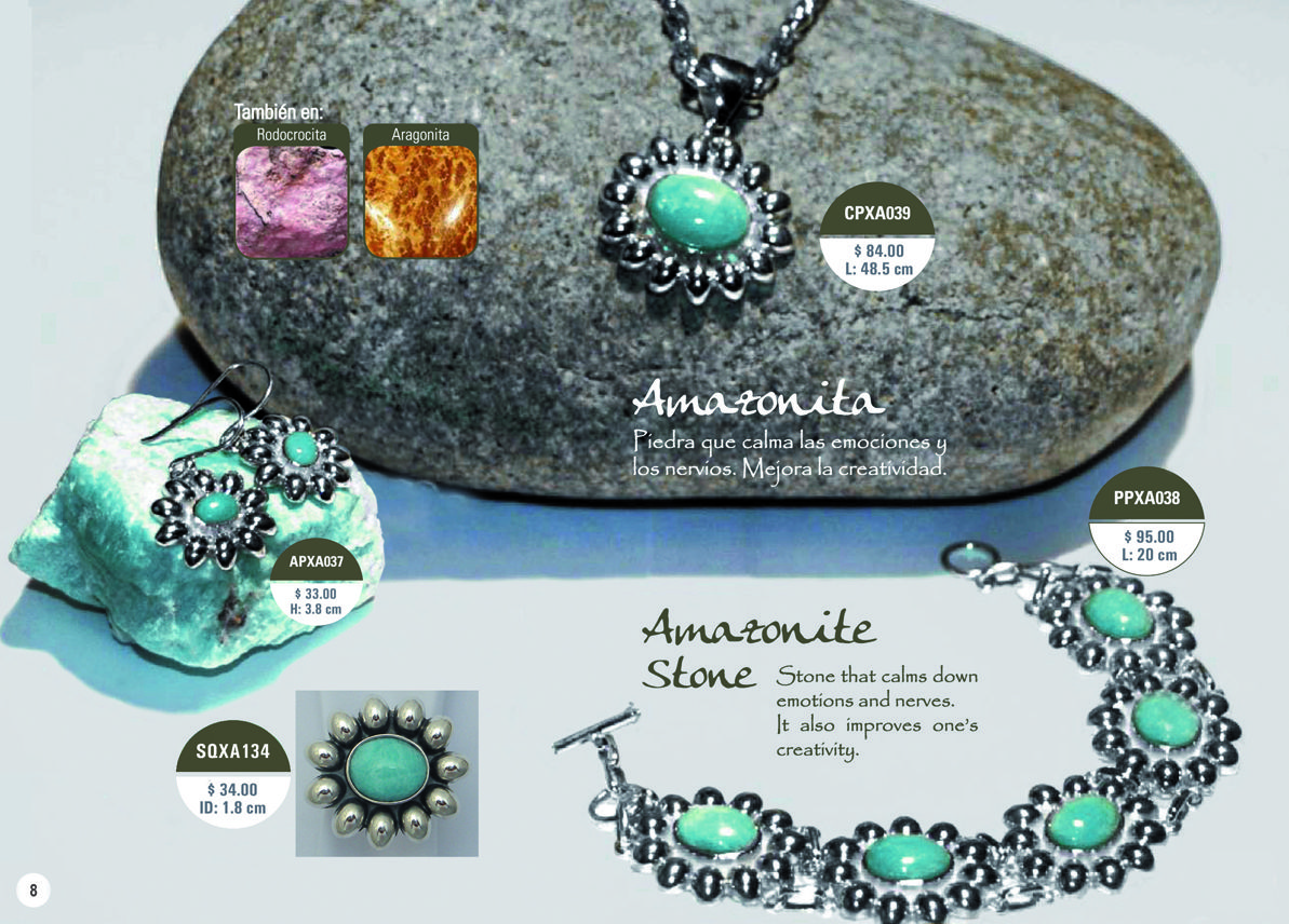 Silver and amazonite stone collection