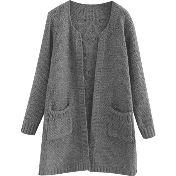 Sheer Pockets Open Front Cardigan Gray (185 HRK) ❤ liked on ...