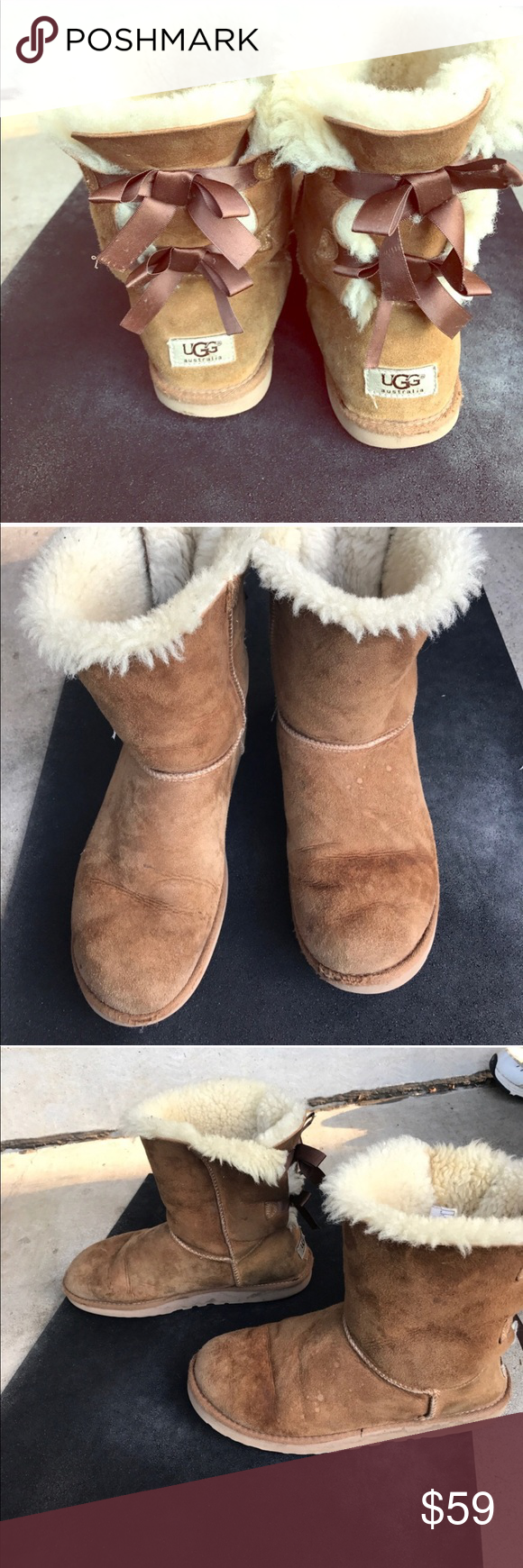 bailey bow uggs worn condition but still have life left! UGG Shoes Ankle Boots & Booties