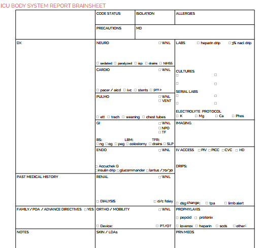 Download Our Free Database Of  Nursing Brain Sheet Templates