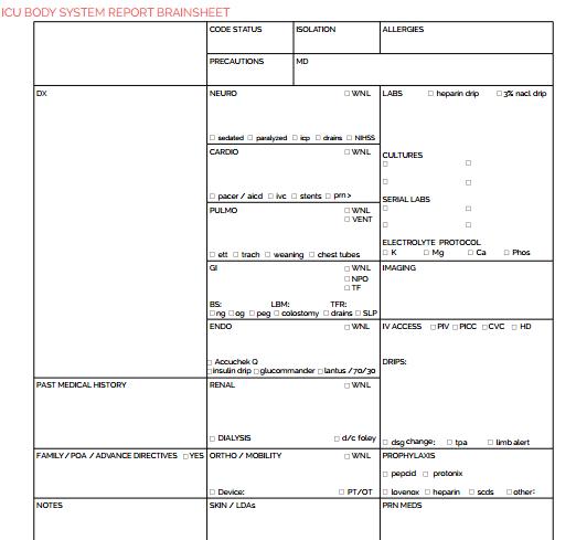 nurse report templates