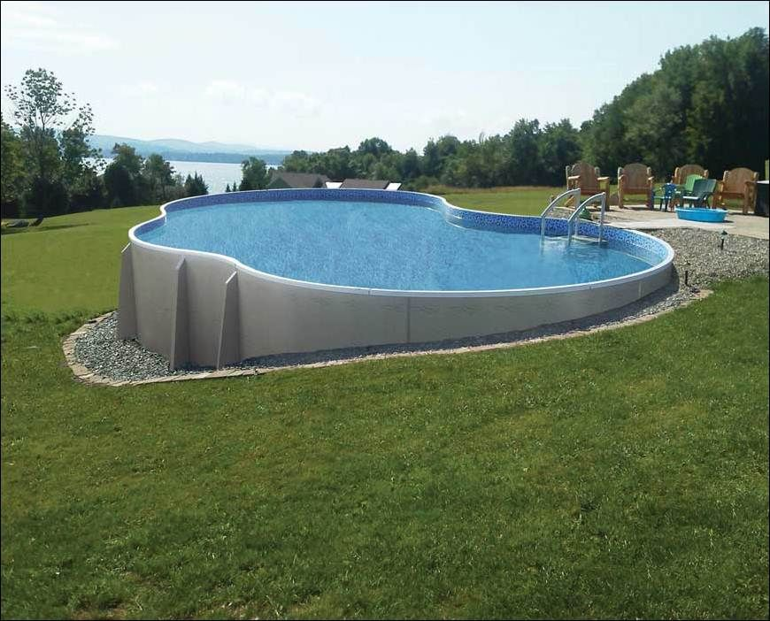 Pool, Beautiful Semi Inground Pool Concept With Curve Shape Made From  Concrete Materials And Decorated