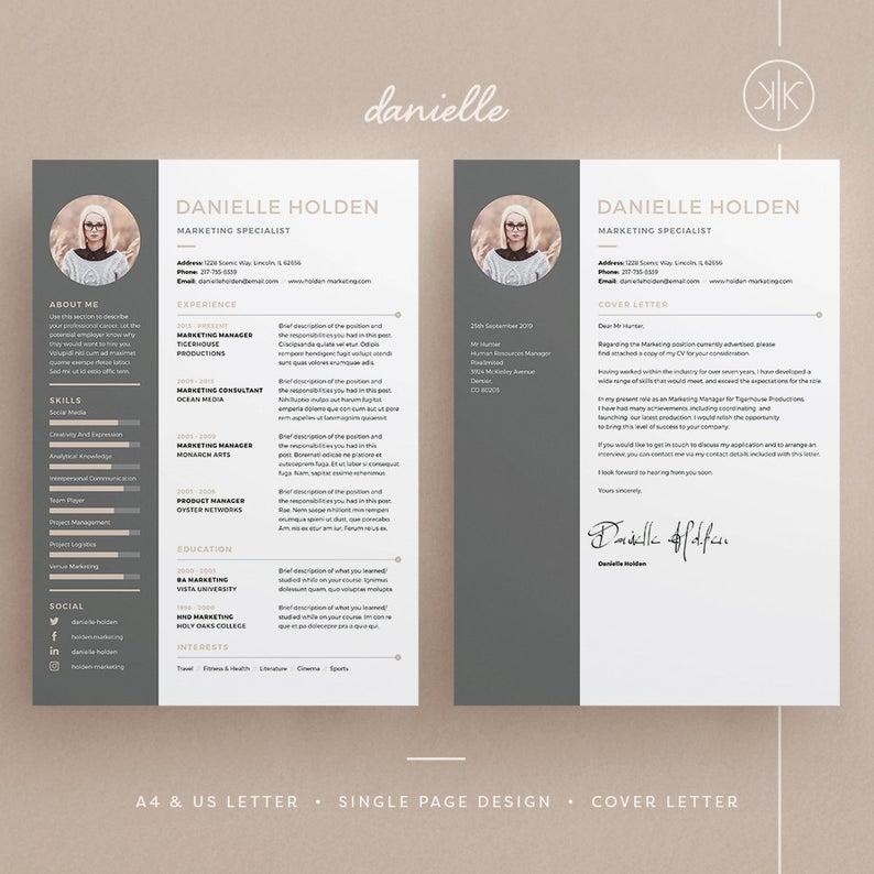 Danielle Resume Cv Template Word Photoshop Indesign Etsy Cv Template Word Resume Design Template Resume Design Free