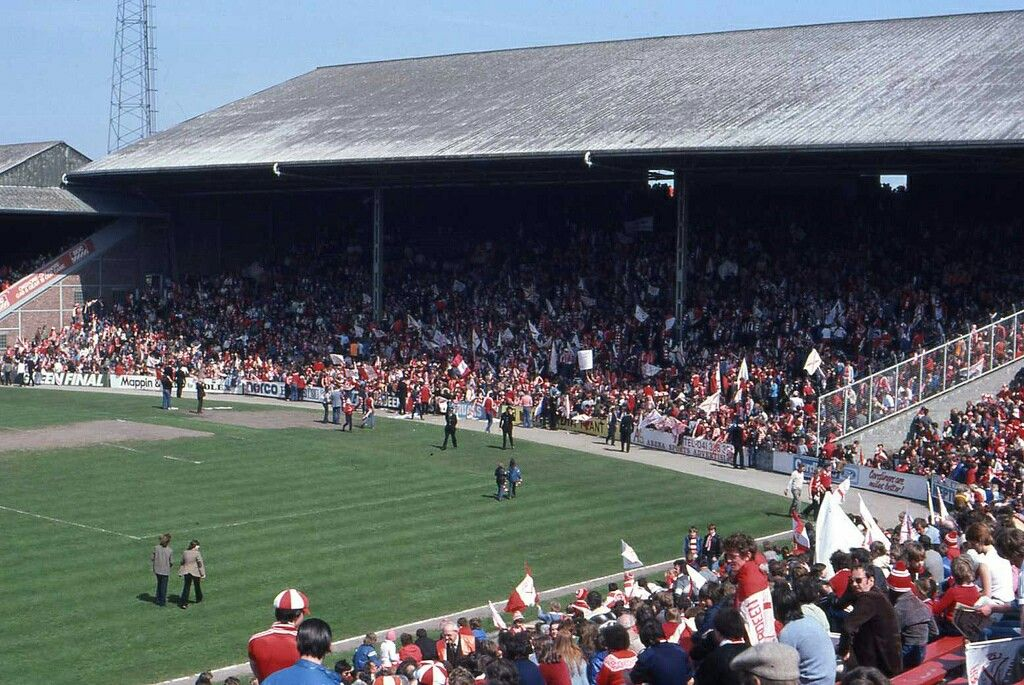 Pittodrie, Aberdeen in the 1980s.
