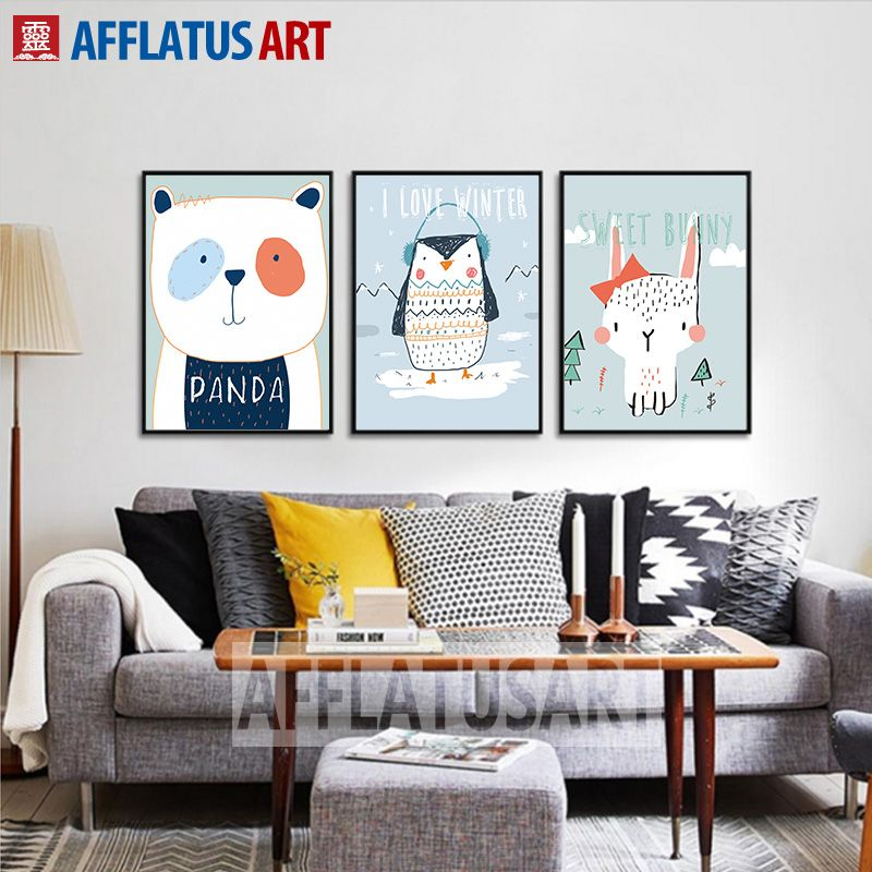 AFFLATUS Modern Cute Animals Line Pencil Drawing Canvas Painting
