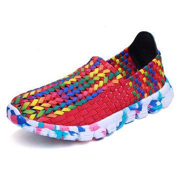 Tricoter À La Main Coloré En Plein Air Chaussures De Sport Respirant Plat ju0AUfFZ