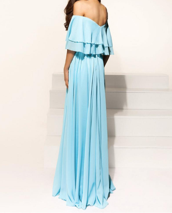 Simple Wedding Dress For Godmother: High Quality Chiffon Off-the-shoulder Neckline A-line Prom